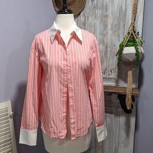Anne Klein pink striped button-up shirt